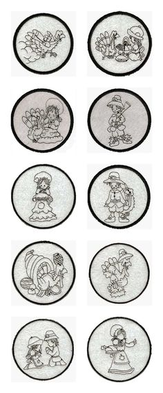 Easy Last Minute Thanksgiving Coasters Embroidery Machine Design Details