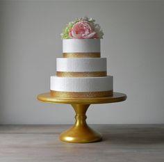 "16"" Gold Metallic Wedding Cake Stand Pedestal Stand Rustic Wooden Wedding Decor  E. Isabella Designs. As Featured In Martha Stewart Weddings"