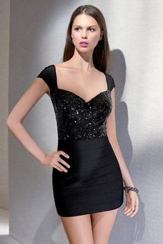 Alyce Black Label - 5462  You'll look irresistible in this cocktail mini dress with fully sequined bodice and sweetheart neckline. Curve hugging band jersey skirt and matching cap sleeves.