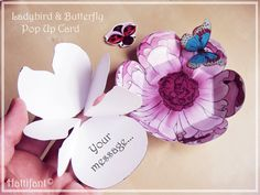 Hattifant's Pop up Card Spring edition: Ladybird & Butterfly Pop Up Card. DIY project with instructions and free printables to spread love and happiness.