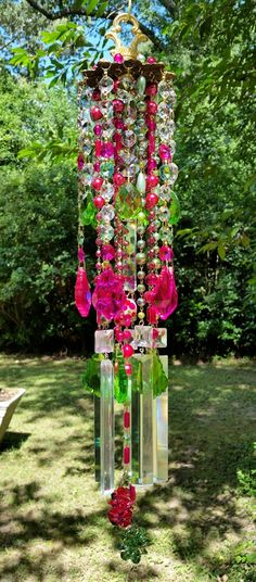 Hot Pink and Green Antique Crystal Wind Chime