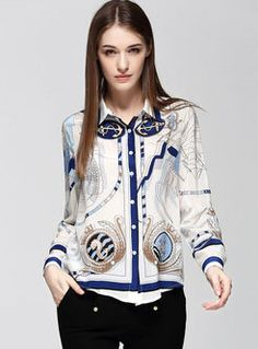 Stylish Long Sleeve Print Silk Blouse