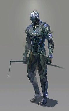 Like the sort of troubled and depressed look Arte Ninja, Arte Robot, Fantasy Anime, Sci Fi Fantasy, Robot Concept Art, Armor Concept, Science Fiction, Futuristic Armour, Futuristic Art