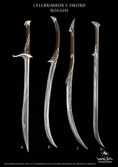 Celebrimbor's sword concept art - weapons sword lord of the rings Fantasy Sword, Fantasy Armor, Fantasy Weapons, Medieval Fantasy, Katana, Shadow Of Mordor, Swords And Daggers, Knives And Swords, Tolkien