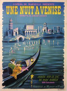une nuit a venise opera de marseille parc borely : CIRCA 1910-1930 antique vintage posters from ANONYM