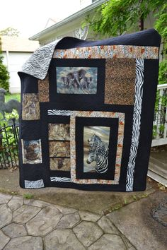 Handmade Quilt Safari African Themed Blanket Zebra Elephant Leopard Animal Print Tribal Throw Quilt