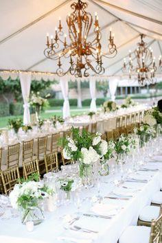 wedding, white, chandeliers
