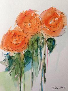 ORIGINAL AQUARELL Aquarellpostkarte Bild Kunst Malerei Blumen
