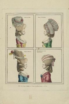Gallerie des Modes, 1776  The Gallerie des Modes regularly did these little multi-plates of the Coeffures, or hairstyles, of the moment. They are a really nice way to see the detail of the decorations and trim on their necklines, as well as their lovely caps and hair ornaments.