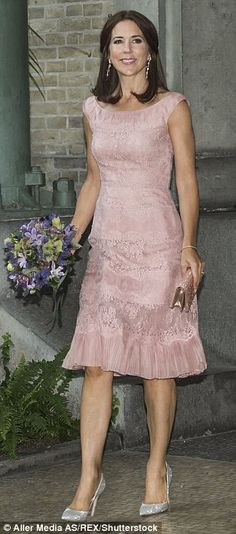 City chic: Mary looked radiant in a soft pink lace dress at the Carlsberg Foundation Research Awards in Copenhagen in April