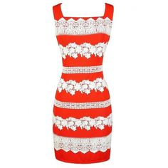 Stripes of Lace Sheath Dress in Orange Lily Boutique ($42) ❤ liked on Polyvore featuring dresses, square neck dress, orange dress, white day dress, lacy dress and white striped dress