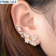 1 PC Gothic Shinning Crystal Butterfly Ear Cuff Gold/Silver Plated Cartilage Clip On Earrings For Women Girls Accessories