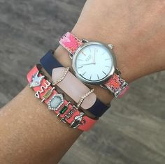 KEEP Collective with Sarah Shult, the mix of CORAL and Navy = LOVE LOVE LOVE!!  summer bling silver leather design arm-candy arm-swag fashion mompreneur charms accessories reversible charm bracelet gift holiday birthday SAHM Direct sales mom style Christmas anniversary birthday Personalized jewelry from KEEP Collective with Sarah Shult Comment or message me for more info, questions, help ordering or personalizing a design