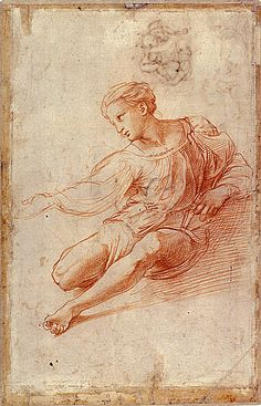 """Good morning with art by Raffaello Santi, Study for Alba Madonna, Trois Crayons, Italian Renaissance Art, Renaissance Artists, Figure Sketching, Figure Drawing, Pencil Art Drawings, Drawing Sketches, Life Drawing, Painting & Drawing"