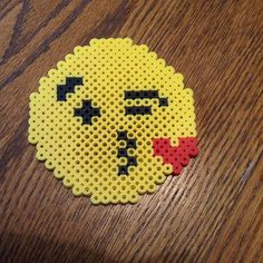 Perler Bead Kissy Face Emoji  by loomatic101