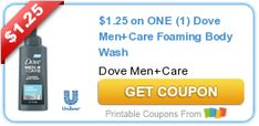 Tri Cities On A Dime: SAVE $1.25 ON DOVE MEN+ CARE FOAMING BODY WASH