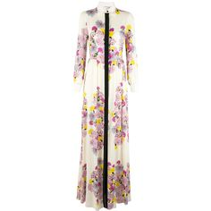 Daniele Carlotta floral top-button maxi dress (17.729.580 IDR) ❤ liked on Polyvore featuring dresses, white, multi color maxi dress, maxi dresses, multicolored dress, maxi length dresses and colorful dresses