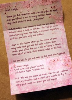 """awesome letter from the Tooth Fairy when child doesn't want to """"give up"""" tooth....from FilthWizardry.com....sheer genius!!!"""