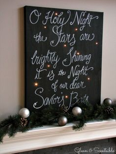 DIY Twinkle light canvas! O Holy Night Christmas canvas