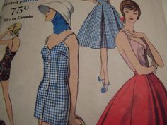 Vintage 1950's, 60's Vogue 9621 Playsuit and Skirt Sewing Pattern, Size 16, Bust 36 di TheLastPixie su Etsy https://www.etsy.com/it/listing/166546554/vintage-1950s-60s-vogue-9621-playsuit
