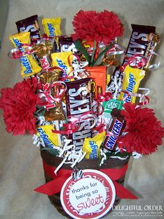 Delightful Candy Bouquet . . . . Would be great for the men in your life that really don't enjoy flowers!