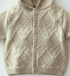 This Pin was discovered by Sah Baby Boy Knitting Patterns, Baby Sweater Knitting Pattern, Crochet Baby Cardigan, Knitting Stiches, Knitting For Kids, Baby Patterns, Knit Patterns, Knit Crochet, Pull Bebe