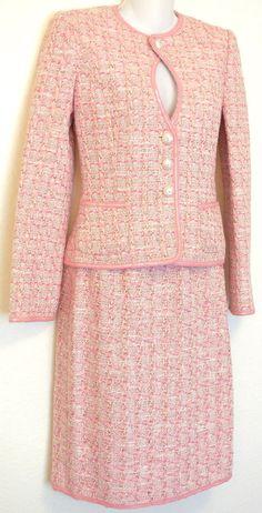 MICHELLE MOISSAC Skirt/Jacket Suit sz 38 Coco Pink Boucle Tweed Sequin Trim #MichelleMoissac #SkirtSuit