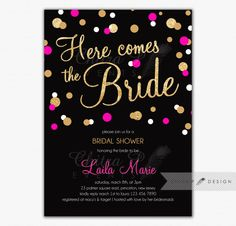 Black & Pink Bridal Shower Invitation - Printed, Kate Spade Inspired Glitter Gold White Bachelorette Confetti Brunch Here comes The Bride - chitrap.com
