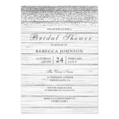 Rustic White Wood Silver Glitter Bridal Shower Card - invitations custom unique diy personalize occasions