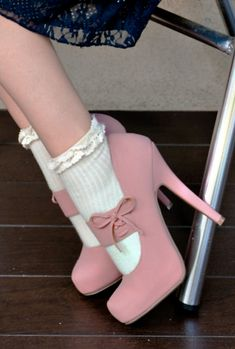 Milady's Boudoir Crochet Lace Trim Ankle Socks in Beige  $6.99. Dusty pink suede pumps.  Mary Jane style.  Adorable.