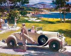 """ART: Harry Anderson, """"Great Moments In American Motoring"""", 1960s-70s. This painting is one of a series, patronized by Exxon (then Esso). The widespread use of cars, originated by the Model T, led to the emergence of a new American pastime. """"Motoring"""", or driving just for the pleasure, caught on in the late 1920's."""