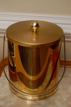 Vintage Glam gold tone ice bucket by PursuingVintage1 on Etsy, $25.00