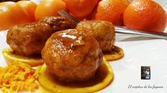 albóndigas de pollo y 4 quesos con naranja