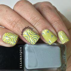 Stamping Nail Art using Illamasqua polish in grey & yellow