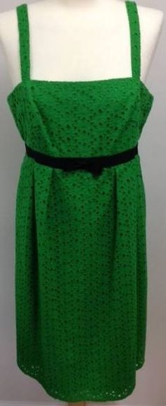 Oleg Cassini OC sundress size 12 green eyelet empire waist 100% cotton #OlegCassini #Sundress #Casual