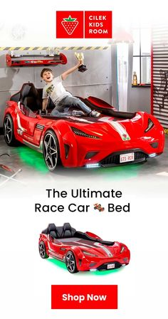 Transform your child's room into a race track! Cilek GTS race car bed combines play and functionality. This twin-size bed is our all-time bestseller and the most advanced car bed in the market. Race Car Bed, Race Cars, Boy Room, Kids Room, Transportation Room, Car Bedroom, Mid Century Armchair, Blue Bedding, Kid Beds