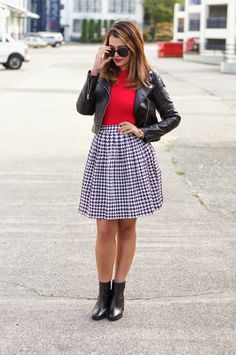 Houndstooth, Midi Skirt, Red Sweater, Ankle Boots, Zara, Moto Jacket