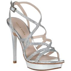 PELLE MODA Farah Evening Sandal Silver Leather ($198) ❤ liked on Polyvore featuring shoes, sandals, heels, silver leather, high heel shoes, leather sandals, ankle strap heel sandals, platform sandals and metallic sandals