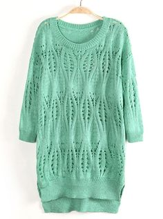 Mint Green Cut Out Diamond Knit Split Side Longline Jumper Sweater