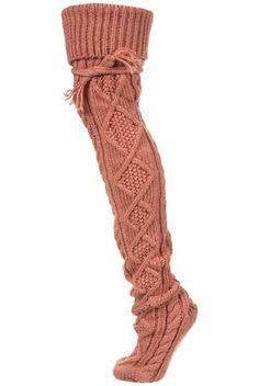 Cable Thigh High Socks