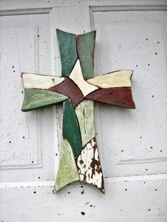 Emerald Green Wooden Mosaic Cross Reclaimed Wood Folk Art. $44.00, via Etsy.
