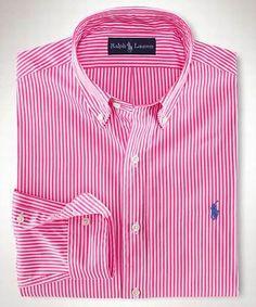 Ralph Lauren Hommbres Cotton Stripe Camisas 16 en Rosa