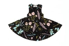 Hand Printed Organic 'Desert Floral' Twirling Dress in Blue Mint, Pale Pink and Yellow Ochre on Black