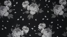 Dekostoff Rosen   Grundfarbe schwarz