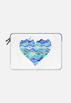 """A Sea of Love"" a Macbook sleeve by Timone @casetify  Make yours and get $10 off using code: YRG38A  #iphone #phone #case #cover #skin #casetify #sea #love #heart #Valentine #ocean #water #waves #beach #river #bubbles #watercolor #blue #white #turquoise #teal #mint #cyan #navy #grey #gray #aqua #aquamarine #green#Macbook Pro 13""  #fashion"