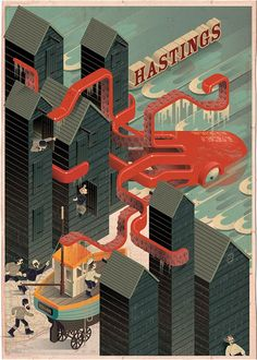 A poster artwork for Hastings, East Sussex.