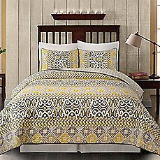 image of Gialla Reversible Quilt Set in Grey/Yellow