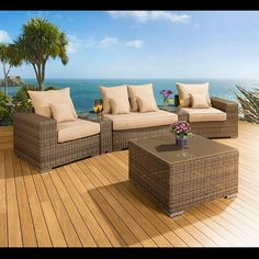 Luxury outdoor garden 4 seater sofa set mocha rattan/beige cushions 21.  Truly stunning in design, this large sofa gives a super high-class feel. This set consists of left and right hand end pieces, 1 x large middle sofa piece, a square glass topped coffee table, 2 x wedge shape coffee table inserts, clips to hold the pieces together, 4 x scatter cushions and heavy-duty covers in green. Call 02476 642139 or email sales@quatropi.com or visit www.quatropi.com for additional information.