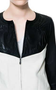 COMBINATION CANVAS AND FAUX LEATHER BOMBER JACKET - Blazers - TRF | ZARA United States
