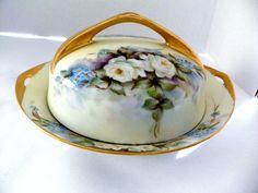 Antique Rosenthal Selb Bavaria Donatello Handpainted Covered Butter Dish& Insert #Rosenthal